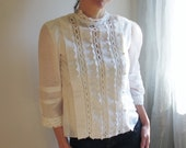 60s white blouse / cotton voile and lace / sweet sixties