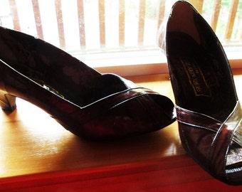 Vintage Brown Peep Toe Pumps, 80s Eel Skin Shoes