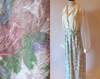 Vintage 70s Maxi, Long Pastel Dress, Vintage Floral Dress, 1970 Fashion
