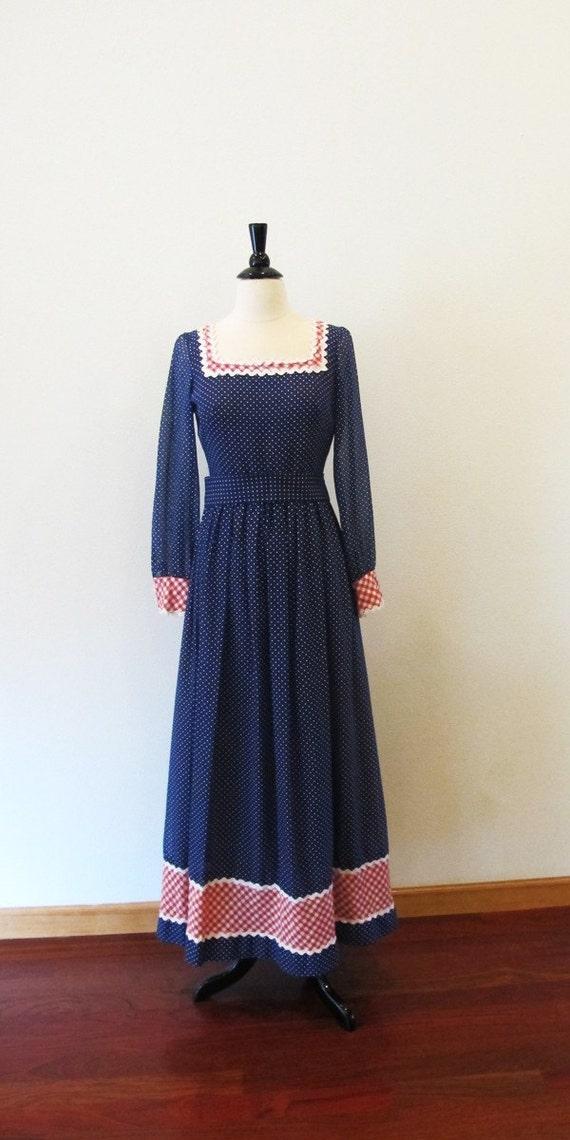 60s maxi dress /  Miss Elliette / long blue dress