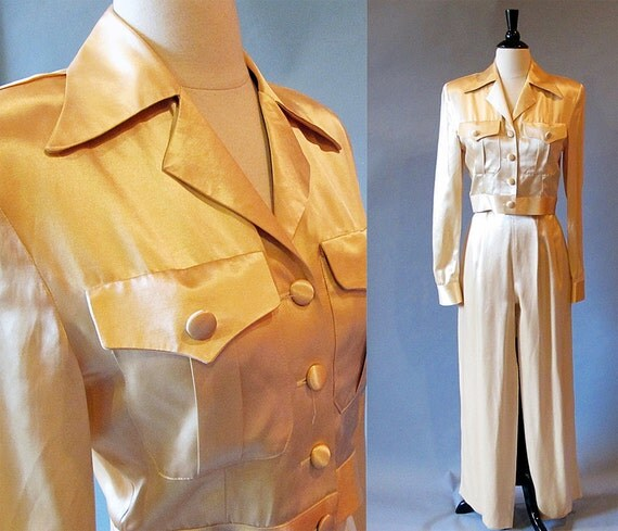 Pants suit / 80s fashion / 40s style / satin pants and jacket