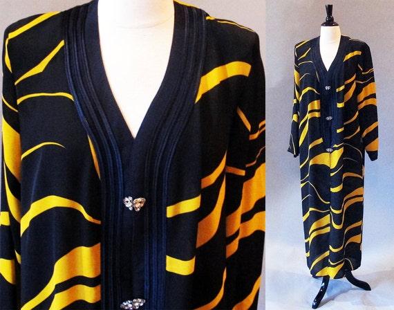 80s evening dress / transparent dress / coat dress / plus size / tiger stripes