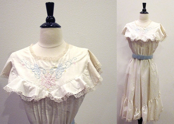 White Cotton Dress,  Vintage 70s Ruffle Dress