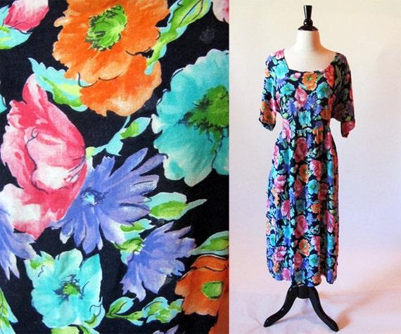 80s cotton summer dress / plus size / Diane Von Furstenberg / summer floral dress