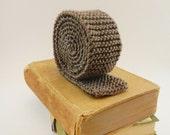 Knit Tie Skinny - Gray / Brown Byron Necktie - Etsy Wedding - Merino Wool Blend - Lit Knits