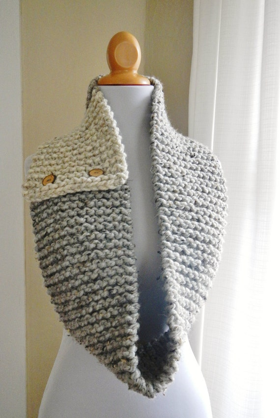 Lovegood Button Cowl / Circle Scarf / Infinity - Color Block Gray and White - Lit Knits - READY TO SHIP