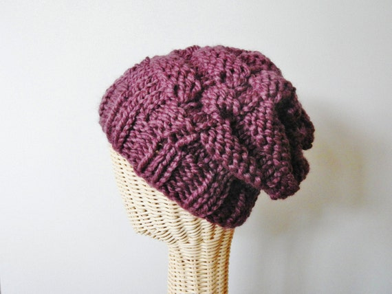 Slouchy Purple Beanie / Knit Hat - Choose Your Color - Writers' Block by Lit Knits - READY TO SHIP