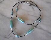 Ceramic turquoise leather necklace