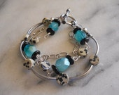 Amazonite Dalmation jasper Silver oxidized chain silver plated toggle bracelet