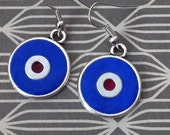 POLYMER CLAY EARRINGS Blue and Maroon round
