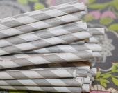 200 Grey Striped Paper Straws with DIY Printable Flags. Wedding, Anniversary, Graduation