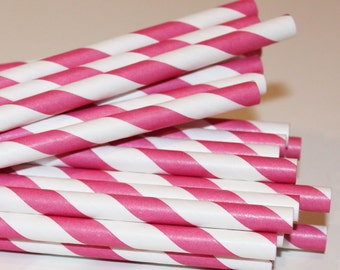 Paper Straws, 25 Hot Pink Striped Paper Straws, Pink Paper Straws, Wedding Straws, Girls Birthday Party, Baby Shower, Baby Reveal, Princess