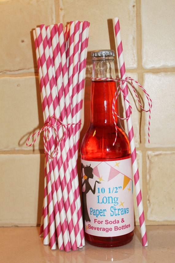 25 Soda Bottle 10 1/2 inch Long - NEW LENGTH - Paper Straws Hot Pink Striped straws with Blank Straw Flag - Wedding, Party, Made In Usa