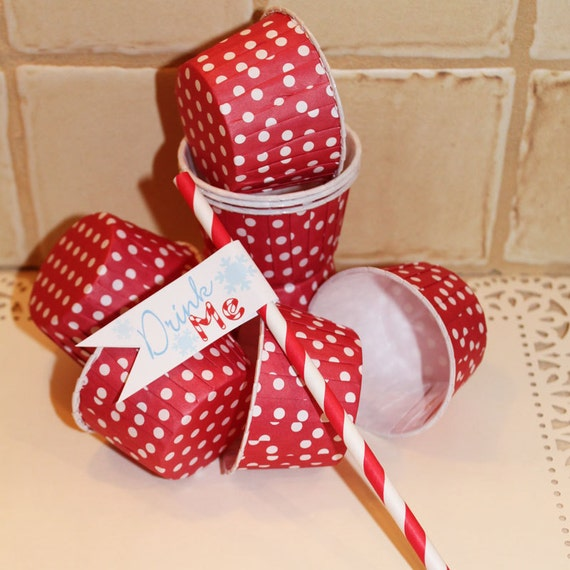 RED POLKA DOT Cupcake Portion Baking Cups 20 - Nut Cups - Candy Cups - Birthday, Wedding, Baby Shower