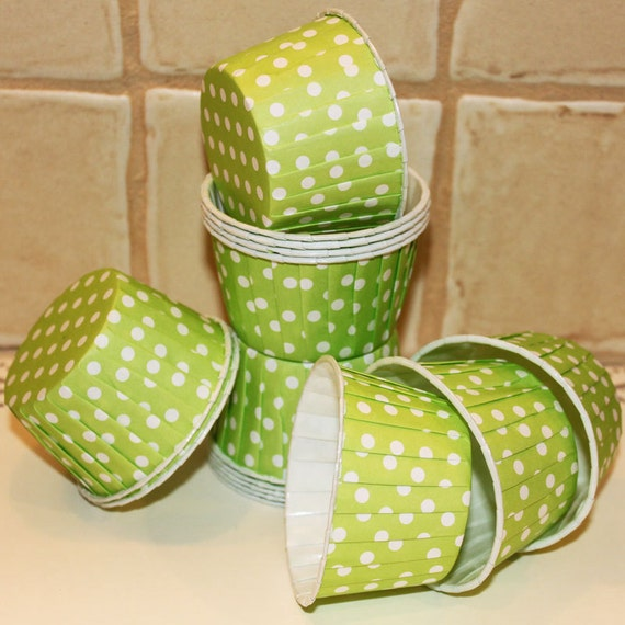 LIME GREEN Polka Dot Candy Nut Cups  - 20 Waxed Cupcake Baking Cups - Portion Cups - Souffle, Wedding, Party, Baby Shower,