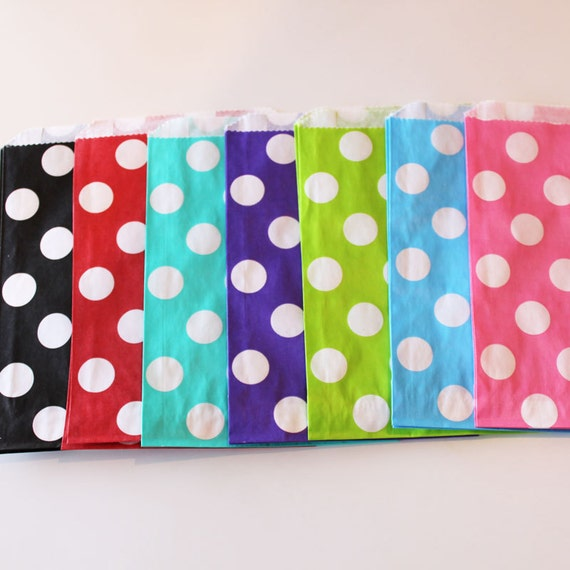 Polka Dot Favor Bags - 100 YOU PICK your COLOR - Designer Party Favor Bags, Weddings, Birthday, Made in Usa