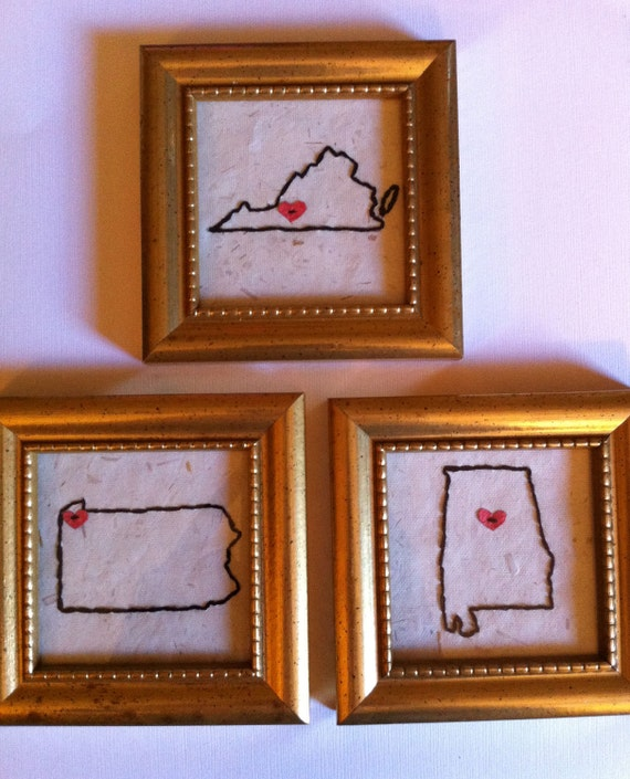"""Made to Order - Framed Embroidered United States of Life - One White Wooden Recycled Frame 4.5""""x4.5"""""""