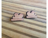 Post earrings - clouds - laser cut wood - kookinuts 'Overcast' studs - Crafted in Australia