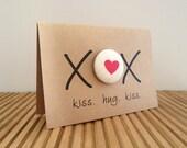 Mother's Day card - XOX (kiss hug kiss) with red love heart brooch pin back button badge (koo-ki-nuts)
