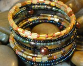 BRACELET - Colorful Beaded Copper pearl Coil Wrap Jewelry Bracelet - Free Shipping
