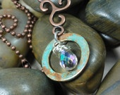 NECKLACE - Aurora Borealis Silver Wire Wrap Swarovski Crystal Copper Patina Hoop metal Swirl Pendant Jewelry Necklace - Free Shipping