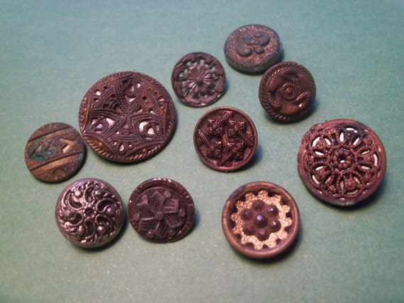 Antique mixed lot of 10 filigree metal buttons