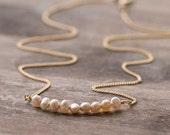 Tiny Pearl Necklace // Delicate Champagne Beige Freshwater Nugget Pearls on Gold Filled Chain // Dainty Elegant Necklace