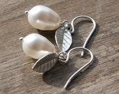 SWEET PEAR White Pearl & Silver Leaves Sterling Silver Earrings - Simple. Elegant. Delicate. Modern. Nature Inspired.