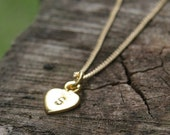 PERSONALIZED HEART Hand Stamped 24k Gold Vermeil & 14k Gold Filled Necklace