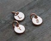 Hand Stamped Rose Gold Vermeil Disc Charm - One (1) Charm