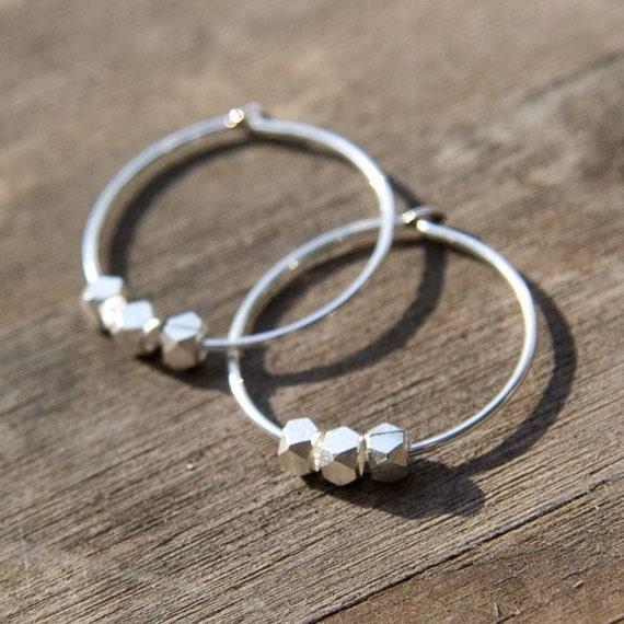 Sale - SILVER NUGGETS Sterling Silver Hoop Earrings