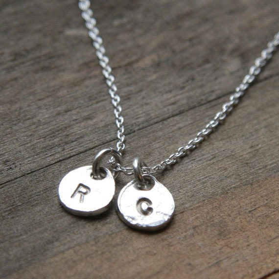 PERSONALIZED DISCS Monogram Two Initials Hand Stamped Charms Sterling Silver Necklace
