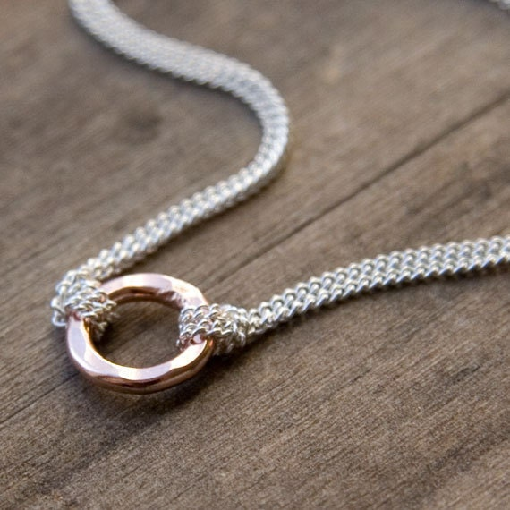 Small Rose Gold Eternity Necklace - Hammered Pink Gold Circle - Sterling Silver Chain - Simple Rose Gold Jewelry