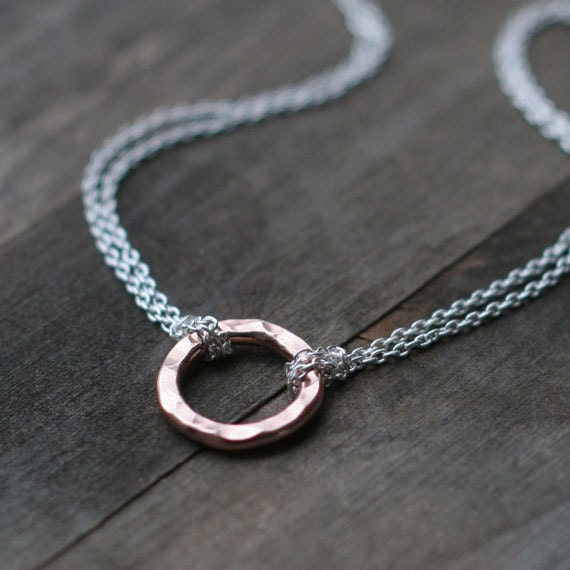 Rose Gold Eternity Necklace - Hammered Pink Gold Circle with Sterling Silver Chain - Simple Rose Gold Jewelry
