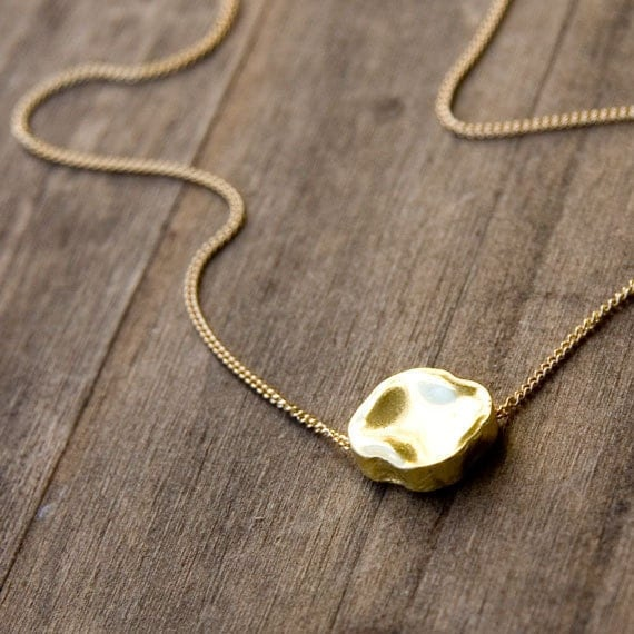 Large Nugget Gold Necklace / Minimalist Gold Bead on Gold Filled Chain / Simple Gold Necklace
