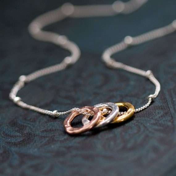 Mini Tri-Color Circles Necklace / Tiny Gold, Rose Gold, and Silver Circles on Sterling Silver Chain