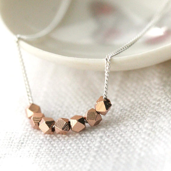 Rose Gold Nuggets Necklace / Pink Rose Gold Vermeil Nuggets on Sterling Silver Chain / Geometric Jewelry