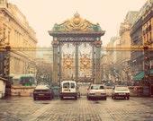 Gold French Gate. Fine Art Photography. Paris Photography. Palais de Justice. Home Decor. Wall Art. Black Gold Sepia. Big Gate. Size A4