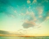 Sunny Australia. Island Photo. Fine Art Photography. Turquoise Sky Clouds Sea. Teal Orange. Home Décor. Wall Art. Summer Beach. Size A4