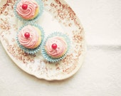Pink Cupcakes Photo. Fine Art Photography. Kitchen Art. Domestic Goddess. Home Decor. Spring Wall Art. Dreamy Shabby Chic. Size A4