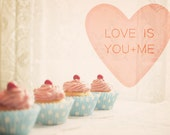 "Pink Cupcakes Photo. Love Is You And Me. Romantic. Kitchen Decor. Kawaii Home Decor. Dreamy. Shabby Chic. Fine Art Photography 8x10"" - happeemonkee"