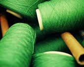 Sew Green. Fine Art Photography. Sewing Room. Home Decor. Thread Spools. Size A4
