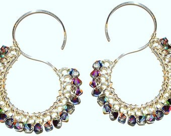 "Full S"" Earrings with Swarovski crystals"