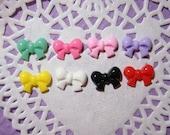 BLOWOUT SALE  Colorful mini ribbon bow cabochons 14 x 10 mm  - 8 pcs