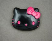 SUPER SALE Big Hello Kitty black face with hot pink bow and eyes 45 x 40 mm - 1 pc