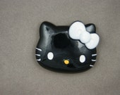 BLOWOUT SALE  Big Hello Kitty black face with white bow 45 x 40 mm - 1 pc