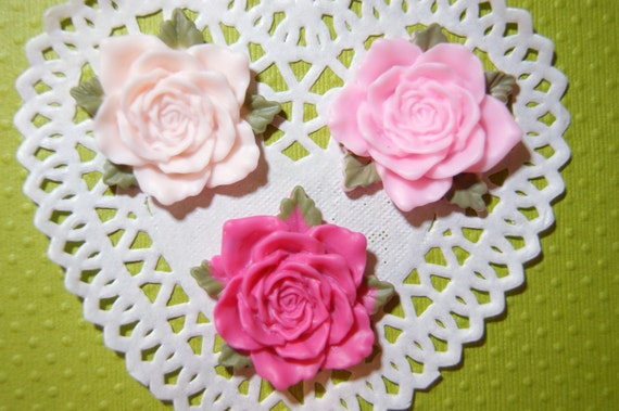 BLOWOUT SALE Pink elegant flower cabochons 35 mm - 3 pcs