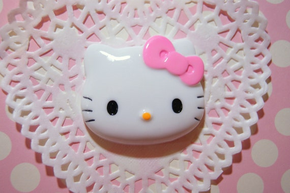 BLOWOUT SALE Big Hello Kitty with Light pink bow 45 x 40 mm - 1 pc