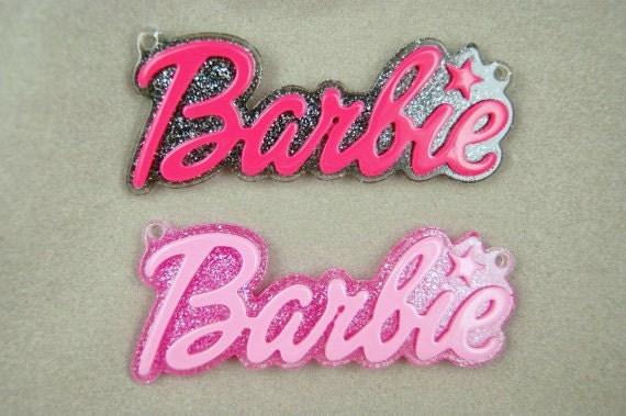 BLOWOUT SALE Fancy glittery Barbie word cabochons with hooks 65 mm - 2 pcs