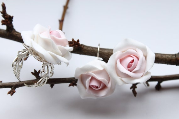 Hand sculpted white and pink flowers Rose earrings and ring set,  free shipping